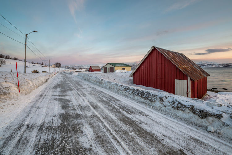 Architecture Barn Building Exterior Built Structure Cold Cold Temperature Colored Sky Composition House No People Northern Norway Norway Old Outdoors Perspective Weather Winter Wood Q wie Quad Road oder Quad needed oder Querung nich möglich Landscapes With WhiteWall The Great Outdoors - 2016 EyeEm Awards EyeEm X Audi - Letter Q