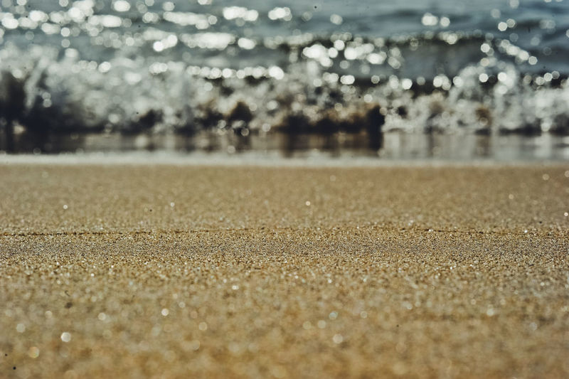 Surface level of sand on beach
