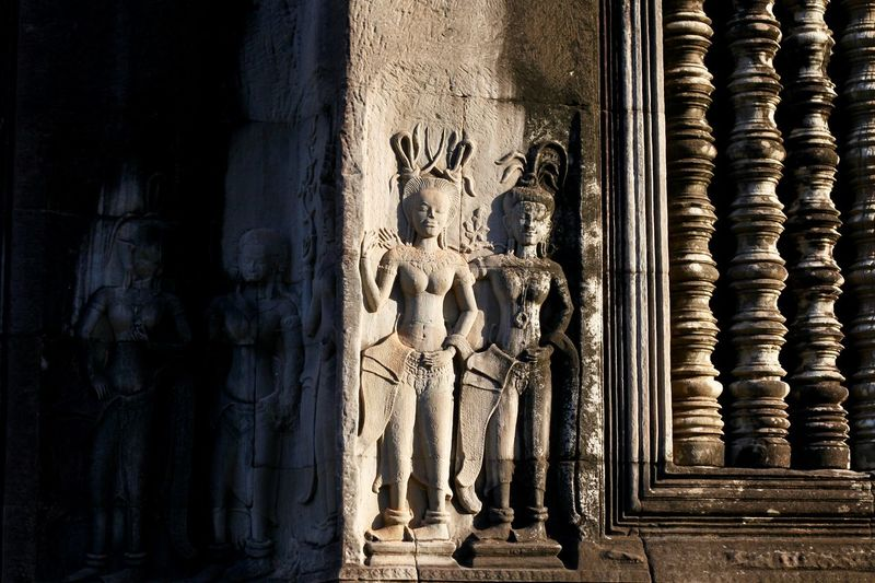 Love this light and shadow effect Art And Craft Built Structure Representation Architecture Human Representation Belief Religion The Past Spirituality Building History Creativity Craft Place Of Worship Sculpture Male Likeness No People Ancient Civilization Angkor Wat Angkor Wat, Cambodia Cambodia Khmer Culture Light And Shadow ASIA Angkor Thom