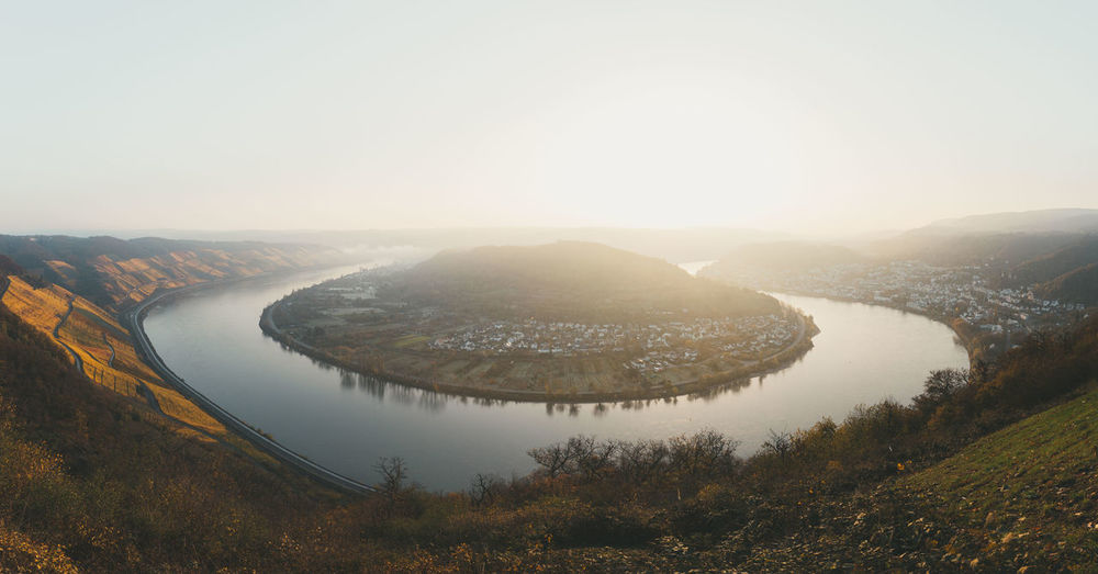 Scenic view of the rhine river bend in boppard, germany