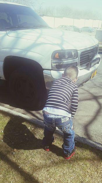 My son has to check his truck every single day!!! Love him.... My Boy Jordans True Religion True Religion Jeans  Urban Style 5 Years Old Trucks Cool Kids Gifted Kids Of EyeEm