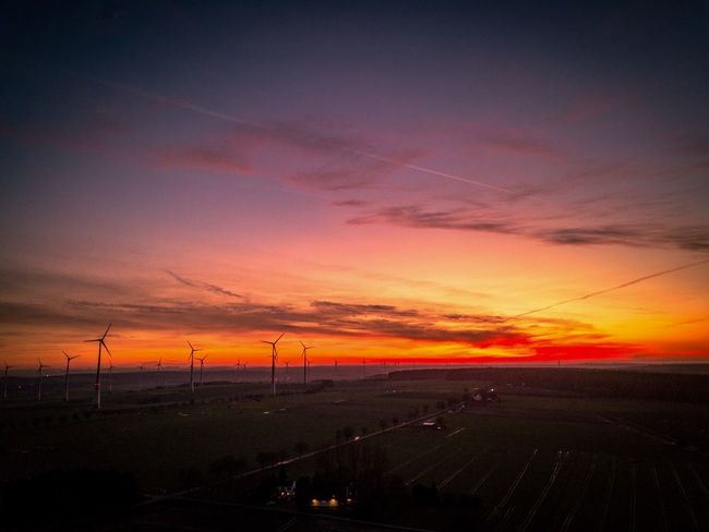 Sundowner ☀️ Sundown Sunset Landscape Nature Beauty In Nature Scenics Rural Scene No People Orange Color Wind Turbine Agriculture Field Outdoors Windmill Industrial Windmill