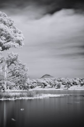 Infrared view of lake against sky