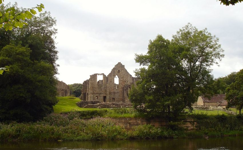 Architecture Building Exterior Built Structure Cloud Cloud - Sky Day Finchale Abbey Grass Green Color Growth History House Nature No People Old Outdoors Plant Sky Tranquility Tree Water