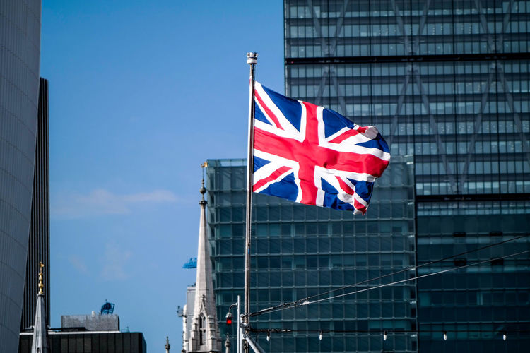 Low Angle View Of British Flag