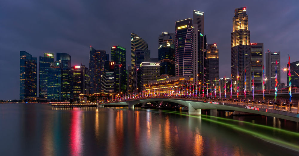 Singapore skyline, long exposure Singapore Skyline Cityscape City Skyscraper Offices Buildings ASIA Financial District  Bridge Water Water Reflections Reflection Illuminated Blue Hour River Luxury Hotel Panoramic Waterfront Office Park