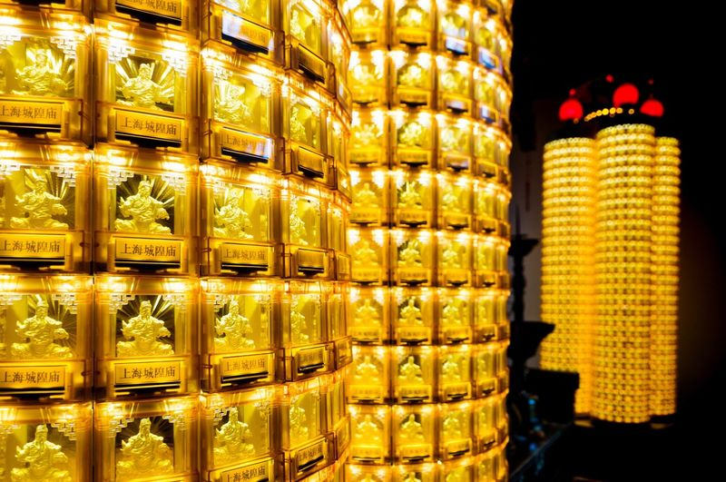 Temple of gods... Golden Spirits Pray Taoism Large Group Of Objects In A Row For Sale Retail  Arrangement Store Still Life No People Indoors  Abundance Yellow Side By Side Stack Order Illuminated Collection