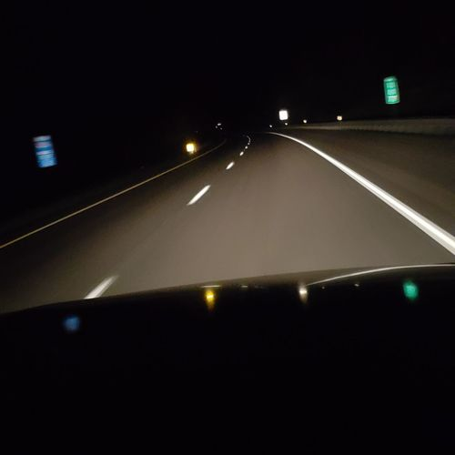 Night Ride Fast Lane No Filter Safe Driving Passenger View Night Time City Road Car Headlight Car Point Of View Windshield