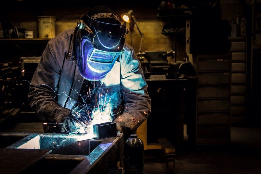 Blue Fusion Blue Fusion Welder Metal Man Metal Industry One Man Only Industry Indoors  Working Welding Iron - Metal Steel Mill Fine Art Photography Photooftheday Photography Artofvisuals Mask VSCO Fresh On Market 2016 Business Stories