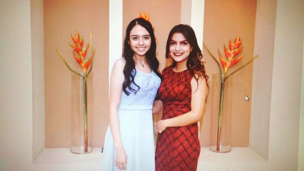 Only Women Two People Long Hair Standing Young Adult Friendship Looking At Camera Adult People Young Women Adults Only Portrait Indoors  Brown Hair Togetherness Individuality Front View Red Smiling Real People