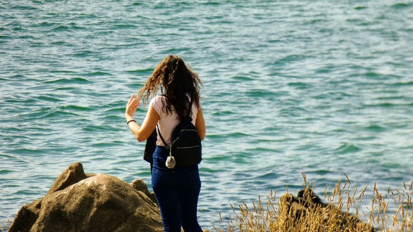 Beauty in horizon Beauty In Nature Beach Beautiful Beauty Girl EyeEm Selects Water Sea Adventure Standing Scuba Diving Rear View Women Rock - Object Sky Calm Shore Rushing Beach Scenics Ocean Tranquility Tranquil Scene Wave Coast Horizon Over Water