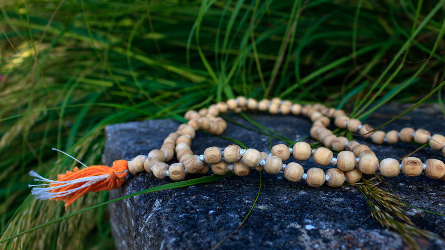 Close up of wooden buddhist prayer beads on stone with green grass outdoor.