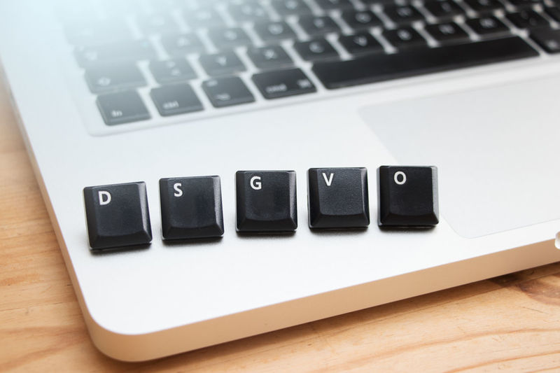 Close-up of computer keys on laptop
