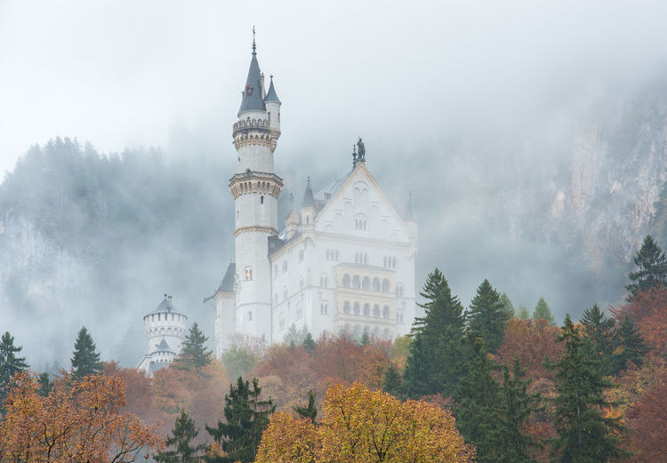 Neuschwanstein Castle with Autumn colors, Fussen, German Tree Plant Building Exterior Architecture Autumn Fog Nature Built Structure Sky No People Building Travel Destinations Day History Religion Change The Past Belief Place Of Worship Outdoors Spire