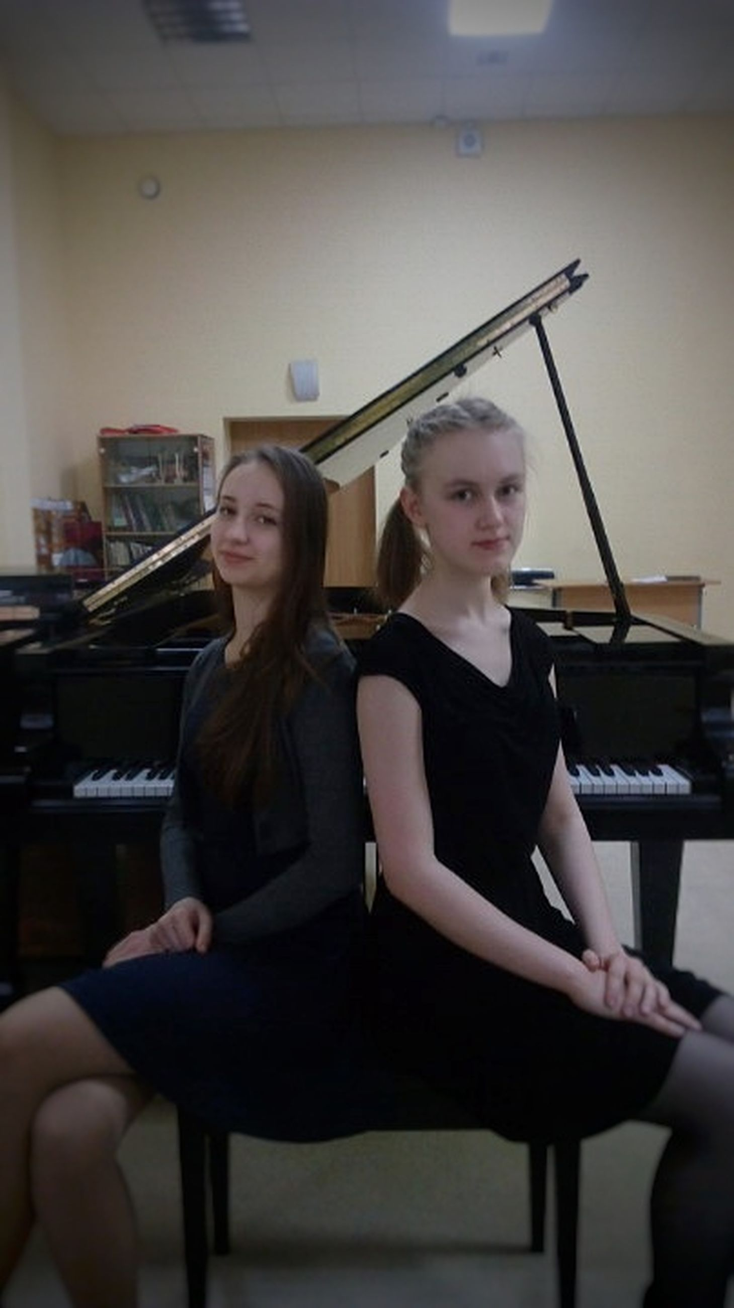 two people, sitting, practicing, arts culture and entertainment, indoors, skill, music, piano, adults only, playing, performance, people, only women, musician, bonding, adult, women, pianist, togetherness, performing arts event, smiling, young adult, day