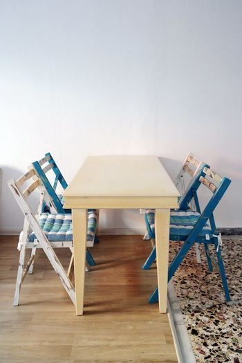 Chairs and tables on hardwood floor