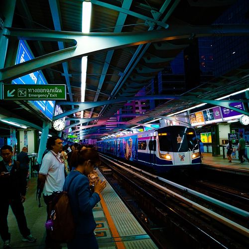 Railroad Track Public Transportation Railroad Station Platform Standing Travel City City Life Illuminated Waiting Bangkok Thailand BTS PROMPONG