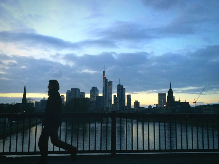 Blue Hour Skyline Mainhattan Silhouette