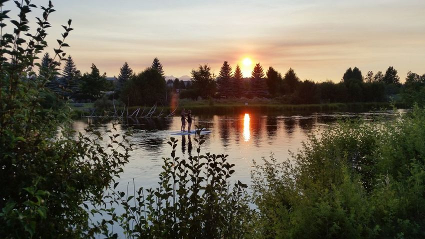 Bend Oregon Couple Day Nature Outdoors Paddleboarding Reflection River Scenics Sip Sky Sunset Tranquil Scene Tranquility Tree Water