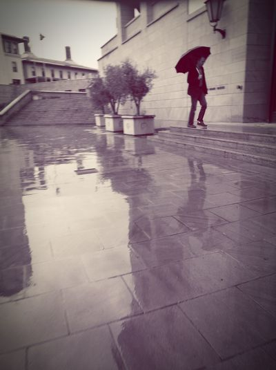 On the go... Rain Wet One Person Architecture Built Structure Extreme Weather Water Flood Outdoors Adults Only Adult People City The Street Photographer - 2017 EyeEm Awards Selective Focus The Photojournalist - 2017 EyeEm Awards EyeEmNewHere Portraits City Life Businessman Standing The Way Forward Walking In The Rain Walking To Work