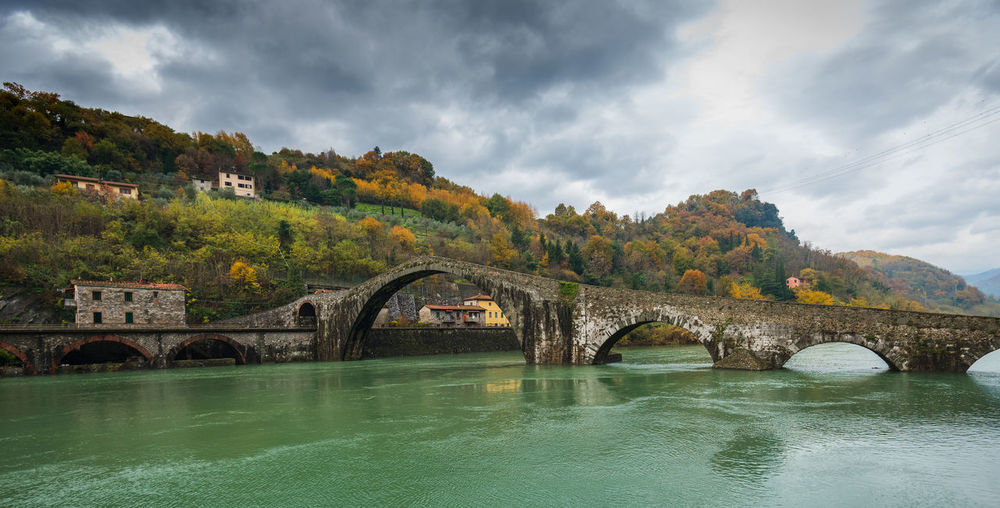Devil's Bridge, Tuscany Autumn Tuscany Arch Arch Bridge Architecture Autumn Colours Beauty In Nature Bridge - Man Made Structure Built Structure Cloud - Sky Connection Day Italy Nature No People Outdoors River Scenics Sky Tree Water Waterfront
