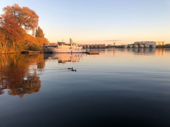 Huvudsta Strand Sweden Sthlm Water Reflection Sky Nautical Vessel Transportation Mode Of Transportation Waterfront Clear Sky Tranquility Outdoors