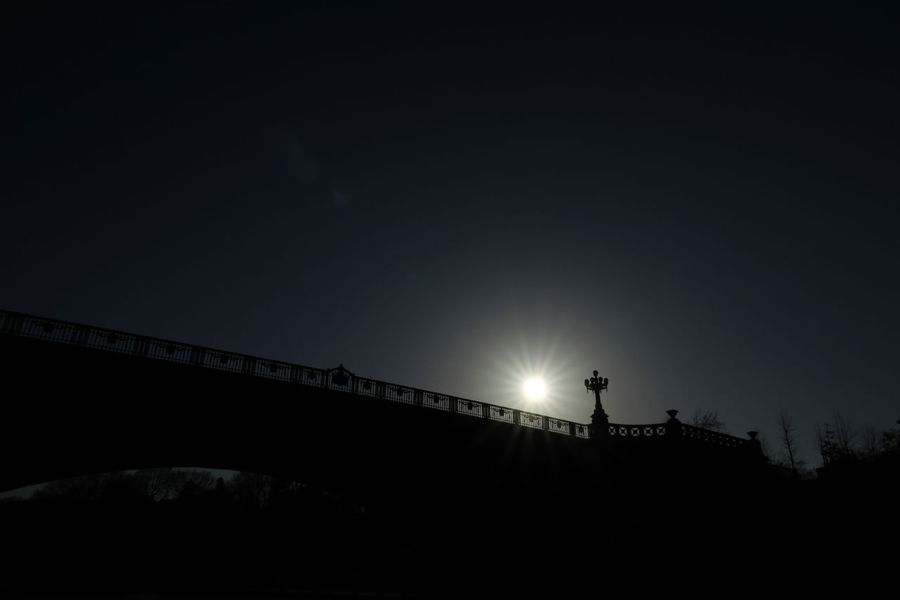 Sun Sunshine Bridge Silhouette Light And Shadow