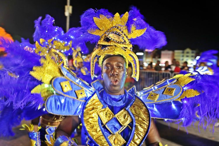 Front View Portrait One Person Looking At Camera Happiness Celebration Night Arts Culture And Entertainment Clothing Carnival - Celebration Event Festival Real People Mouth Open Costume Leisure Activity