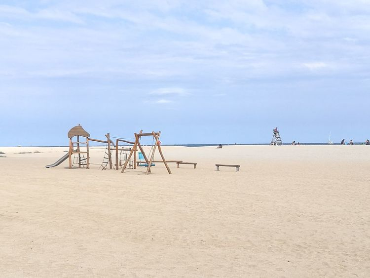 Sand Play In The Beach Wooden Play Area Beach Sky No People Sea Seaside Seaside View SPAIN