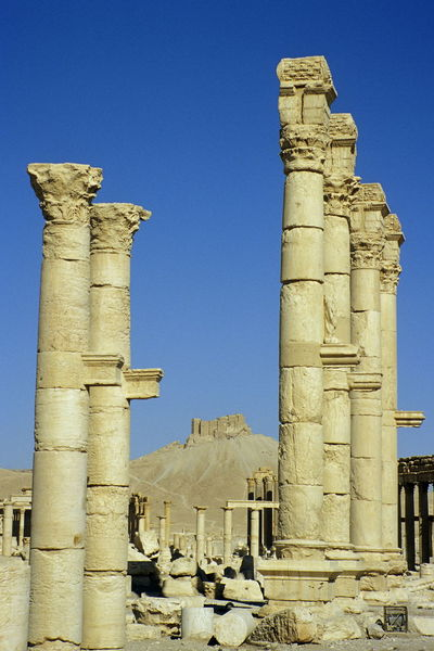 Palmyra before the civil war. Antiquity Architecture Blue Built Structure Clear Sky Columns Day Fakhr-al-Din Al-Maani Castle History Low Angle View No People Outdoors Palmyra Palmyra Castle Palmyra Ruins Roman Antiquity Ruins Sky Syria  Tadmor