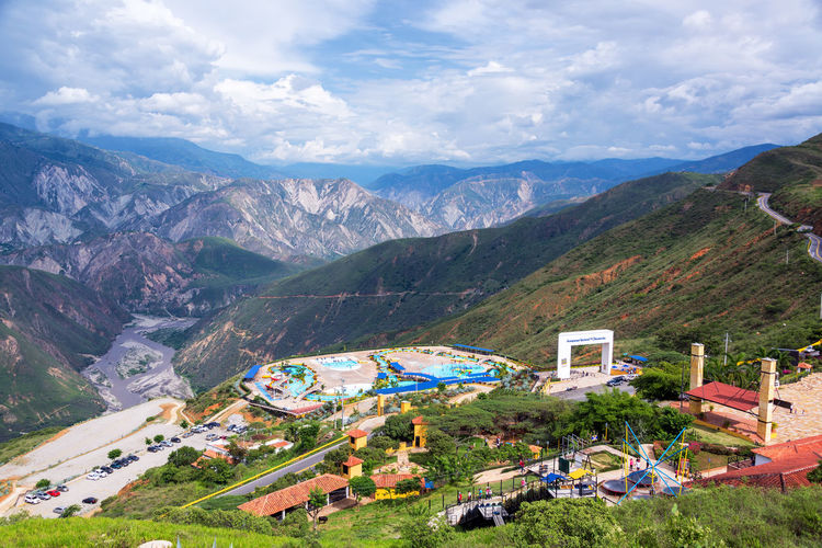 CHICAMOCHA CANYON, COLOMBIA, MAY 8: Landscape view of Chicamocha Canyon, Colombia with a park known as Panachi on May 8, 2016 Adventure Bucaramanga Canyon Chicamocha Chicamocha Canyon Colombia Destination Family Hill Hills Landmark Landscape Mountain Mountains National Park Nature Outdoors Panachi Park River Santander Tourism Travel Vacation View