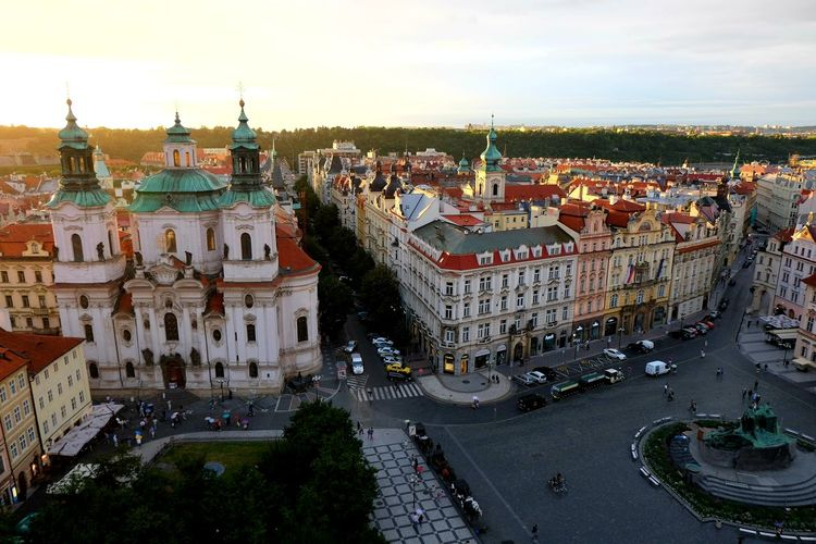 Old Town Square, Prague Prague Tourist Destination Tourism Famous Place Cityscape City Crowd Arts Culture And Entertainment High Angle View Sky TOWNSCAPE Rooftop Town Old Town Crowded