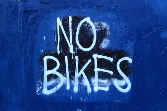 Blue Background Communication Graffiti Guidance Information No Bikes Allowed Sign Text Wall Your Amsterdam Spui