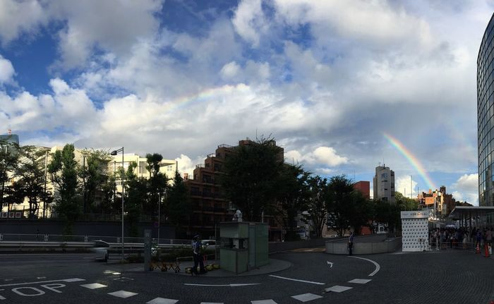 Panorama of a Rainbow above Tokyo,Japan Roppongi Summerdays  Weekend Sunday Afternoon Rainbows Japan Summersky Clouds And Sky Sky Photography IPhoneography
