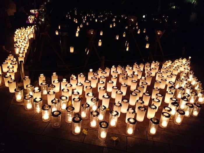 Close-up of illuminated lanterns at night