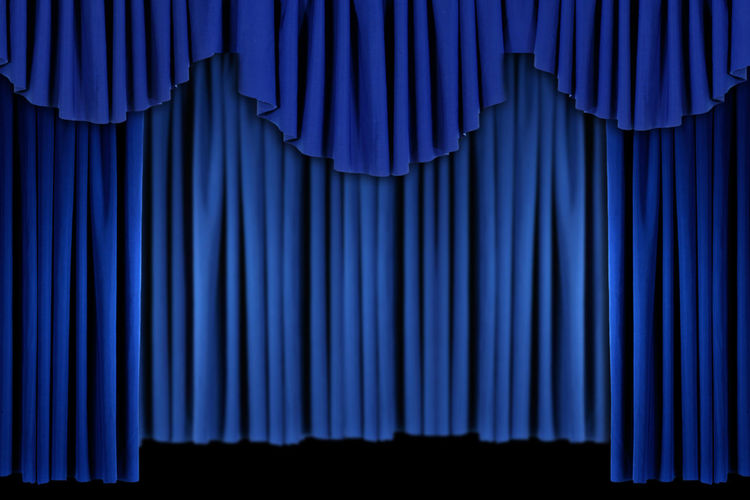 Full frame shot of blue curtain