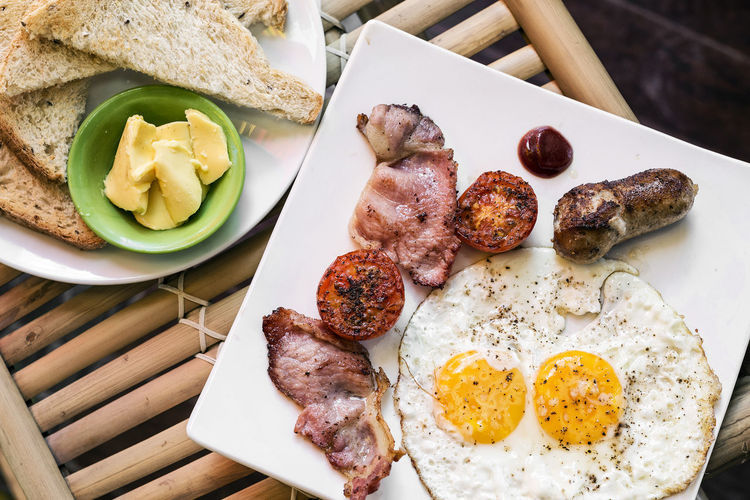 english breakfast meal British Bacon Bread Breakfast Close-up Day Egg Egg Yolk English Breakfast Food Food And Drink Freshness Fried Fried Egg Healthy Eating Indoors  Meat No People Plate Pork Ready-to-eat Sausage Table