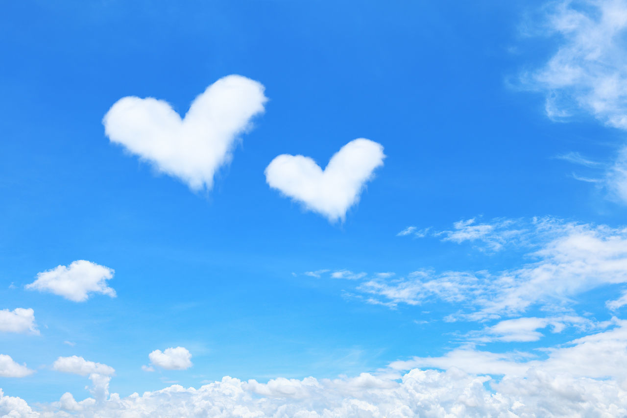 cloud - sky, sky, heart shape, blue, low angle view, no people, positive emotion, day, love, tranquility, beauty in nature, nature, emotion, outdoors, white color, tranquil scene, sunlight, scenics - nature, idyllic, creativity, softness, meteorology, valentine's day - holiday