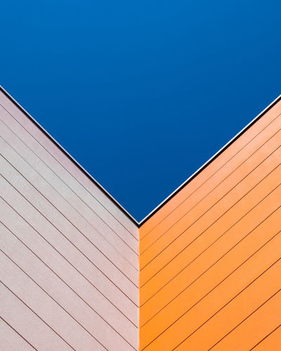 Wallfeature Blue No People Copy Space Wall - Building Feature Minimalism Minimalist Photography  Fujix_berlin Ralfpollack_fotografie Architecture Built Structure Clear Sky Sky Building Exterior Low Angle View Day Pattern Building Outdoors Sunlight Backgrounds Corner