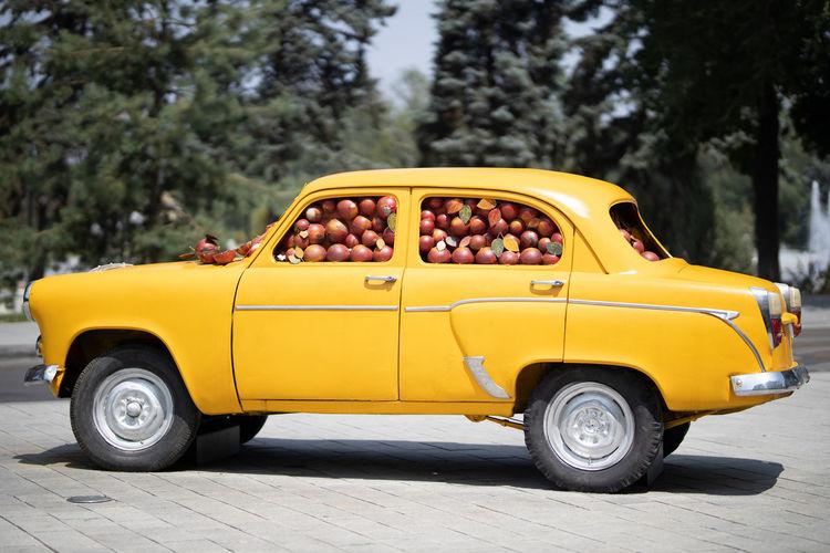 Street art - car full of fruits.