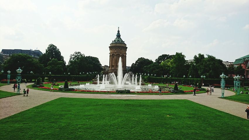 Mannheim Wasserturm Grass Water Fountain Spraying Park - Man Made Space Tourism Tourist Park Garden Famous Place Brunnen Wasser Capital Cities  Formal Garden Tree