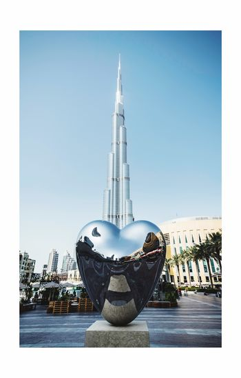 The hearts of Dubai, United Arab Emirates 🇦🇪 Urban City Shape Heart Landmark Travel Destinations Architecture Dubai Burj Khalifa Clear Sky Sky