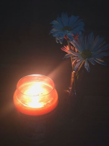 Fall Candle Light Flowers October Darkness And Light Orange Blue Fire Lovely 🍂🍂🍂