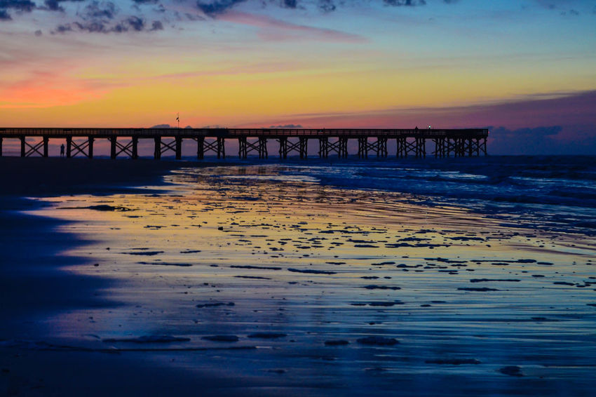 Beach Charleston Folly Beach Ocean Pier Sea South Carolina Sunrise