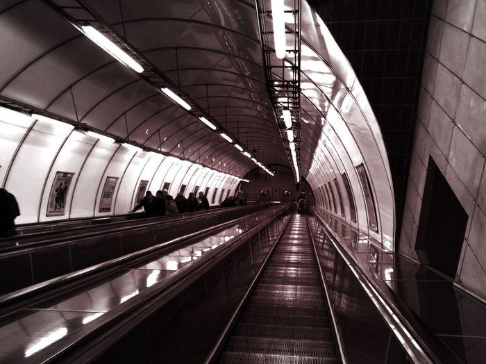 Blackandwhite Underground Transportation Architecture Indoors  Built Structure Public Transportation Rail Transportation Railroad Station Modern Railing Railroad Station Platform Moving Walkway
