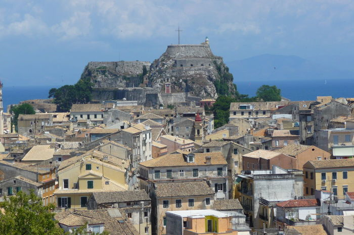 Architecture Blue Sky Blue Sky And Clouds Building Exterior Castle Castle View  City Centre City_collection Cityscape Corfu Corfu Town Crowded Crowded Space Greece History Kerkyra Residential Building Sky Travel Destinations Travelling Wanderer
