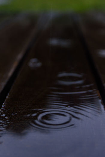 Close-up of water drop on metal