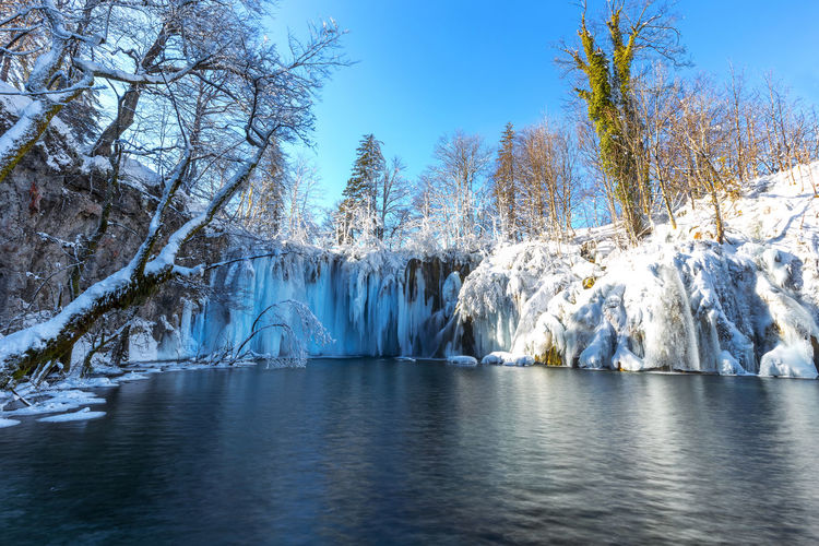 Panoramic shot of frozen lake against clear sky