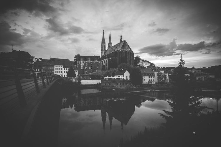 Görlitz / Zgorcelec Reflection Architecture Belief Blackandwhite Photography Blackandwhitephotography Building Building Exterior Built Structure Bw_collection City Cloud - Sky Görlitz Nature No People Peterskirche Place Of Worship Reflection Religion River Schwarzweiß Sky Travel Destinations Water Waterfront