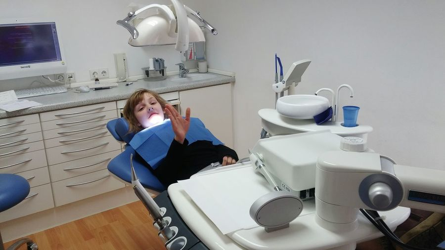 Portrait of girl at dental clinic